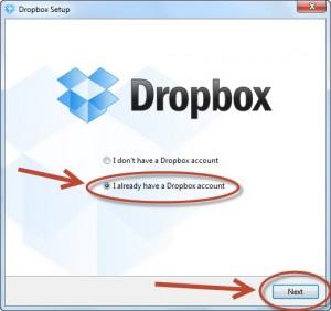 Использование DropBox от Зои Вулвич, настройка во время инсталляции
